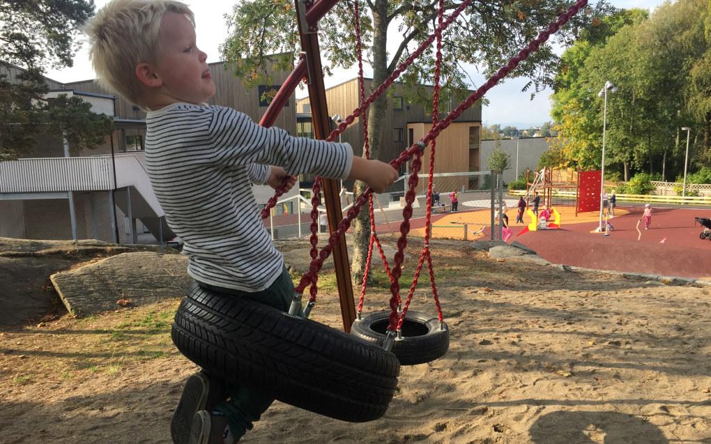 Husker og andre lekestativer er ikke like spennende som et variert og uforutsigbart utemiljø. Foto: Paal Svendsen