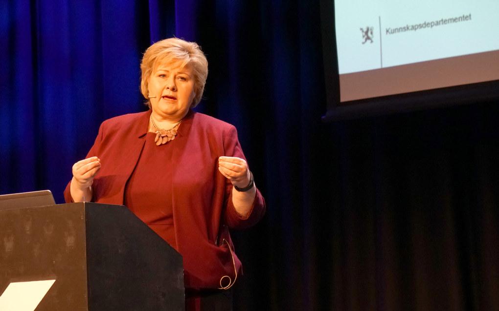 Statsminister Erna Solberg vil premiere dyktige undervisere. Foto: Marianne Ruud.