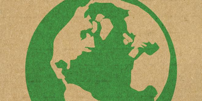 Grønn/beige globustegning over Nord- og Mellom-Amerika, Europa, Afrika