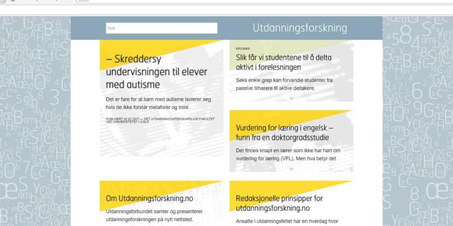 Bilde av en forside på internett