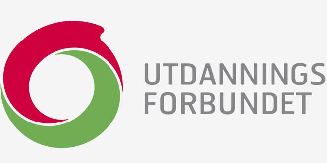 Utdanningsforbundets logo som er en sirkel hvor halvparten er rød og den andre grønn