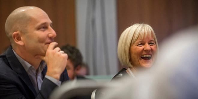Steffen Handal og Ragnhild Lied, leder i Unio