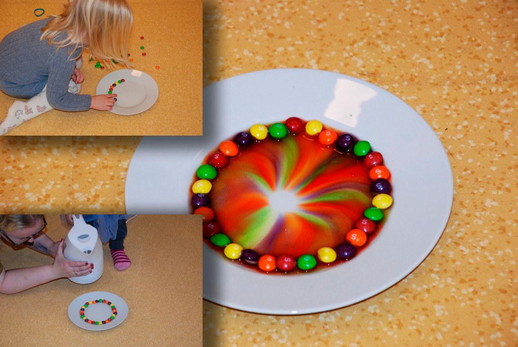 Ved hjelp av Skittles-drops og litt varmvann laget barna denne fine regnbuen. Foto: Arne Solli