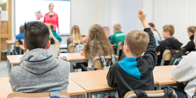Elever i grunnskolealder sitter i klasserom med ryggen mot kameraet. En elev rekker hånden i været.