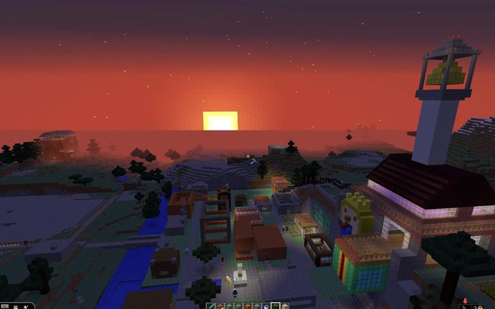 Solnedgang over torget og rådhuset, hvor lærerne holdt til. To elevområder skimtes til venstre i bildet.