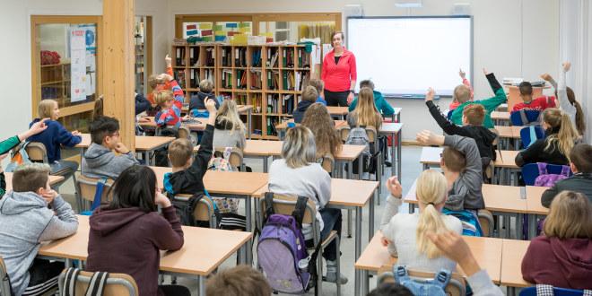 Elever som sitter med ryggen til i et klasserom.