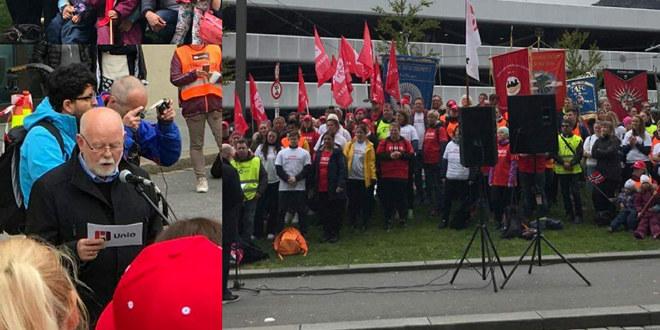 Bilder fra fanemarkering for streikende i Akasia-barnehager i Bergen.