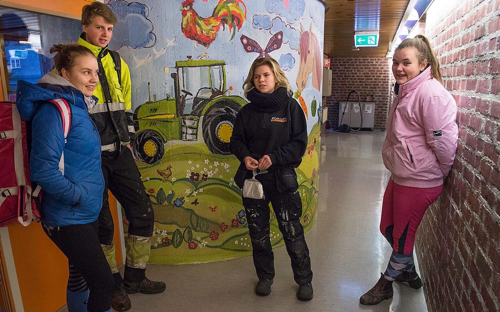 Internatgangen har sitt klare særpreg. Elevene er fra venstre: Loise Arntzen, Fredrik Fjærvoll Olsen, Cecilie Sigvartsen og Ragnhild Wilskog. Foto: Kari Kløvstad