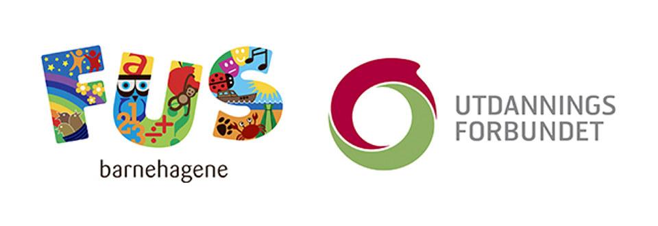 Logo for FUS barnehagene og logo for Utdanningsforbundet