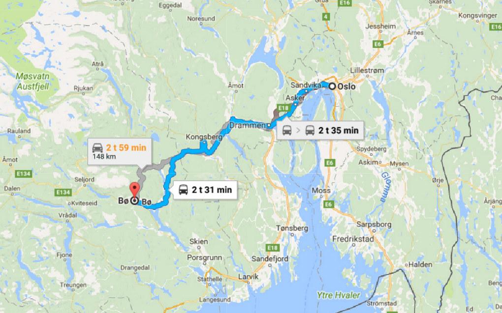 Å flytte fra Oslo til Bø vil gjøre det mye vanskeligere å følge tett med på de politiske prosessene, advarer ansatte i sekretariatet for FUB og FUG. Illustrasjon: Google Maps
