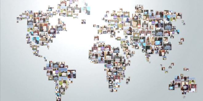 Illustrasjonsbilde av verdenskart bestående av ansikter med elever.