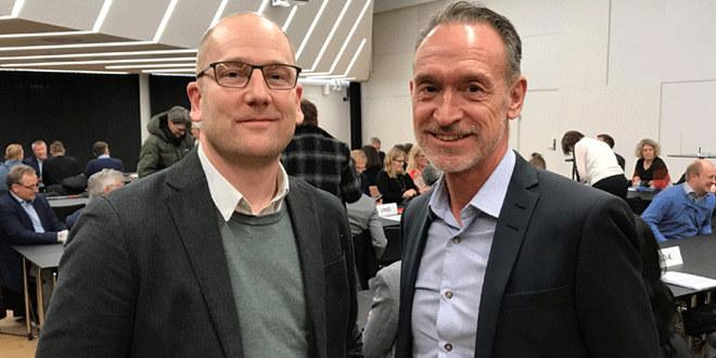Leder av Utanningsforbundet, Steffen Handal og Tor Arne Gangsø fra KS smiler til kameraet.