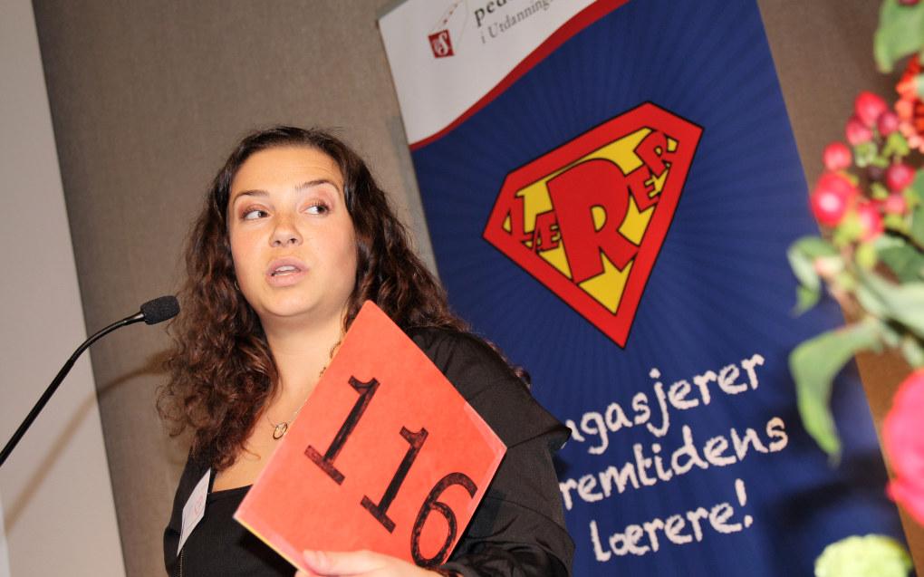 Når året nå nærmer seg slutten, har Pedagogstudentene 20.528 medlemmer, opp 72,5 prosent siden starten av 2012. Her leder Hedda Eia Vestad. Foto: Sonja Holterman