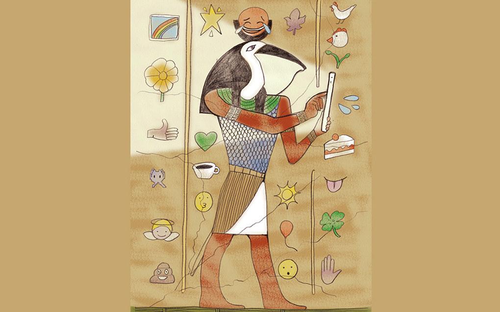 Allerede i det gamle Egypt diskuterte man tekniske nyvinningers fordeler og ulemper, som guden Thot og kongen Thamus, da Thot ville ha sin egen oppfinnelse, skrivekunsten, bragt ut til egypterne. Ill.: Tone Lileng | post@tonelileng.no