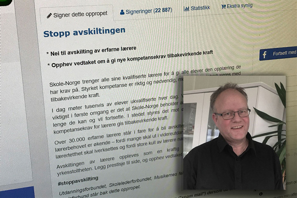 Tillitsvalgt i Utdanningsforbundet i Møre og Romsdal, Håvard Moe, antar de fleste synes behandlingen av lærerne er dårlig, men derfra til å aktivt gjøre noe sitter dessverre langt inne hos en del lærere. Foto: Privat/skjermdump