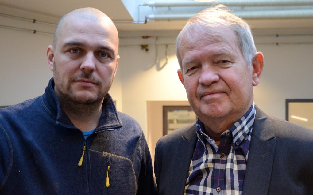 Paal Svendsen (t.v) og Knut Hovland i fagbladet Utdanning reagerer på at ledelsen i svenske Lärarförbundet  i praksisk fjerner journalistenes og redaktørens uavhengighet. Foto: Kari Oliv Vedvik