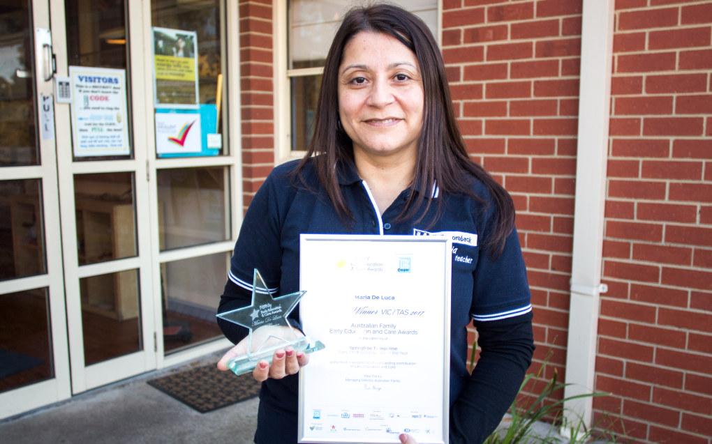 Maria De Luca vant «Årets Barnehagelærer» i Victoria og Tasmania i 2017, og kom på annenplass for tilsvarende pris nasjonalt i Australia. Foto: Andrea Thiis-Evensen