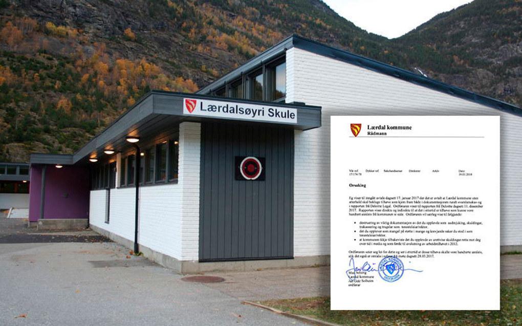 I forbindelse med en varslingssak ved Lærdalsøyri skule skal relevante papirer blitt tatt ut av en safe og brent uten rektors tillatelse. Foto: Lærdal kommune