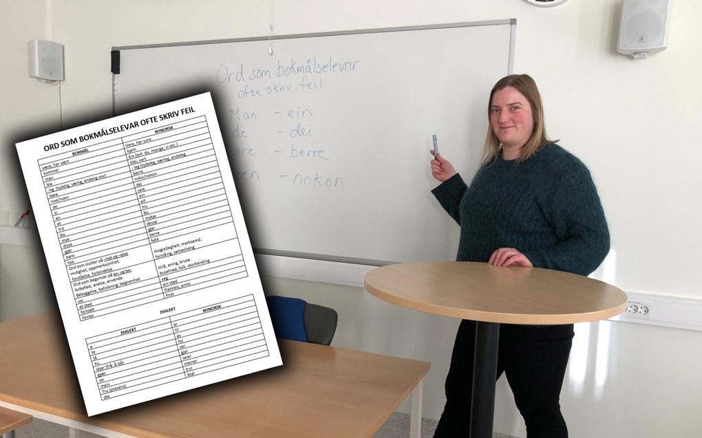 Jeg merker at elevene blir mer motivert til å jobbe med tekstene. Lista har gitt en bevisstgjørende effekt, forteller Marianne Følling. Foto: Privat