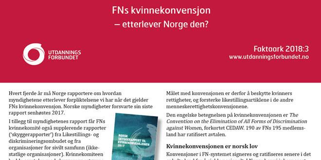 Forsiden på faktaarket om FNs kvinnekonvensjon
