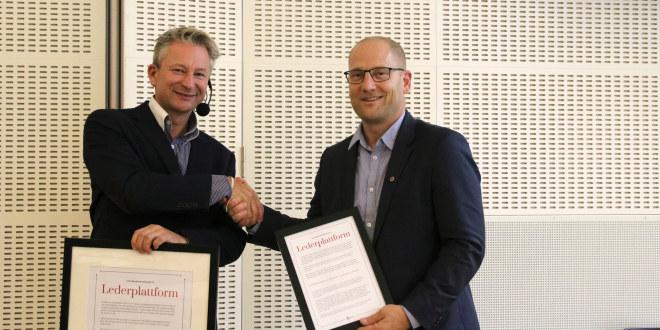 Tormod Korpås og Steffen Handal ved lanseringen av lederoffensiven i Utdanningsforbundet