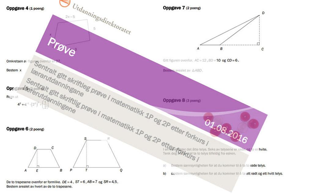 Andelen som besto forkurs i matematikk for å komme inn på lærerutdanning, økte betraktelig fra i fjor. Montasje: Utdanning