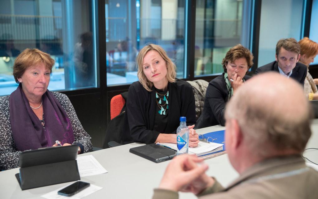 Skolebyråd Inga Marte Thorkildsen (SV) under en høring i midten av september. T.v. ordfører Marianne Borgen. Med ryggen til Odd Einar Dørum (V). Foto: Vidar Ruud / NTB scanpix