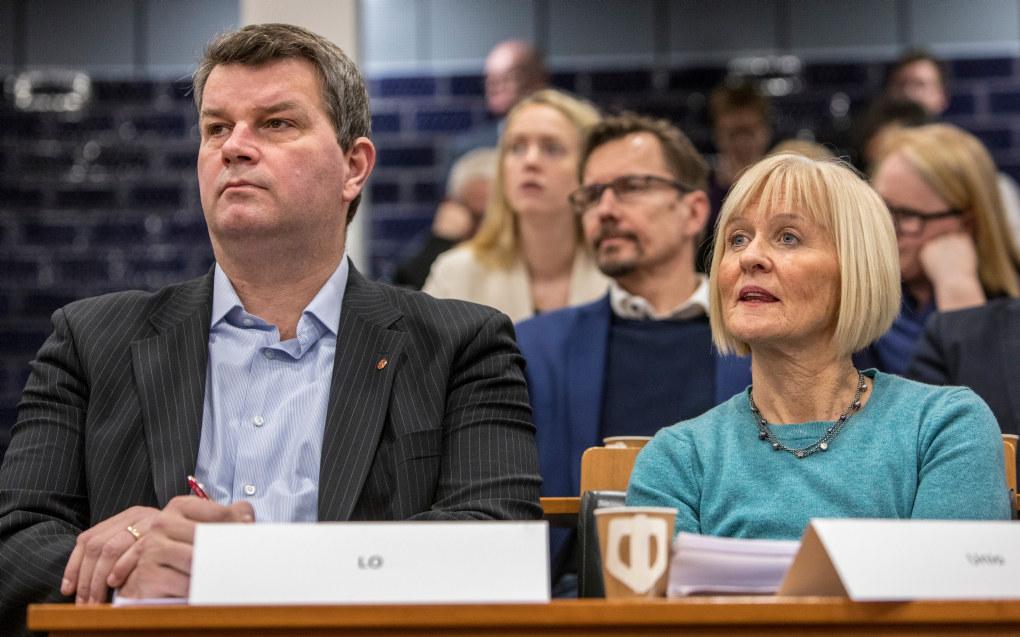 Arbeidsminister Anniken Hauglie (H) presenterte den nye IA-avtalen på en pressekonferanse tirsdag. Lo-leder Hans-Christian Gabrielsen og Unio-leder Ragnhild Lied var tilstede. Foto: Ole Berg-Rusten / NTB Scanpix