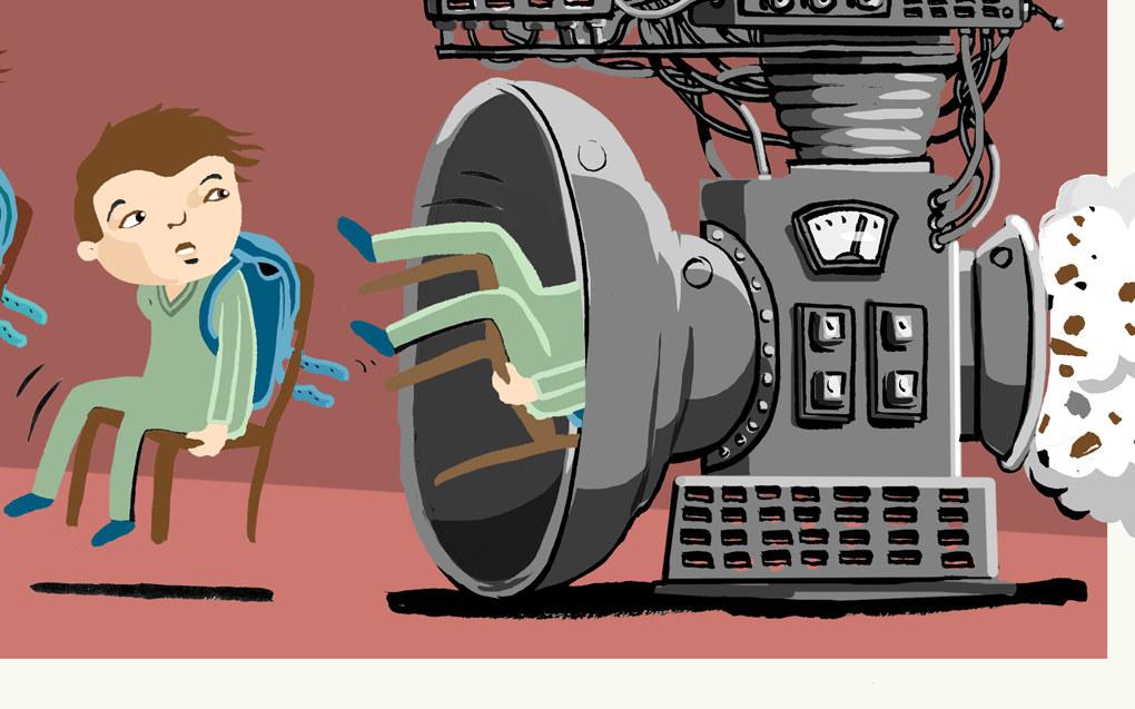 Elevene som år etter år blir kvernet inn og gjennom et system som ikke er laget for dem, blir nødvendigvis en stor utfordring, skriver Morten Fiskaa. Illustrasjon: Lars Aurtande.