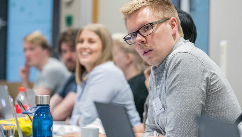 Bilde: arbeidsutvalget i Pedagogstudentene under et landsstyremøte.