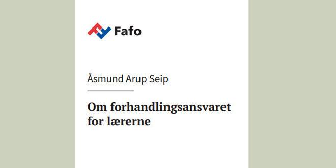 """Omslaget på Fafo-rapporten """"Om forhandlingsansvaret for lærerne"""" utgitt i 2019. Omslaget har kun tekst og ingen illustrasjoner"""