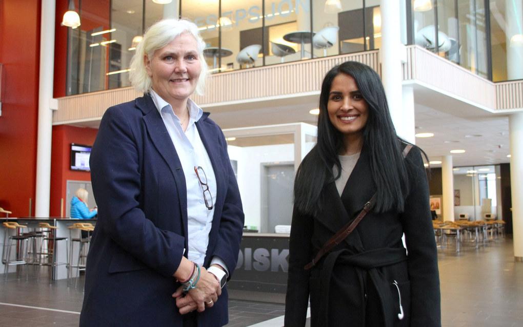 Rektor Linn-Siri Jensen (til venstre) og bystyremedlem Saida Begum (H) er enige om at nærskoleprinsippet er lite egnet som inntakssystem til videregående skoler i Oslo. Foto: Karl Andreas Kjelstrup/Nordre Aker Budstikke