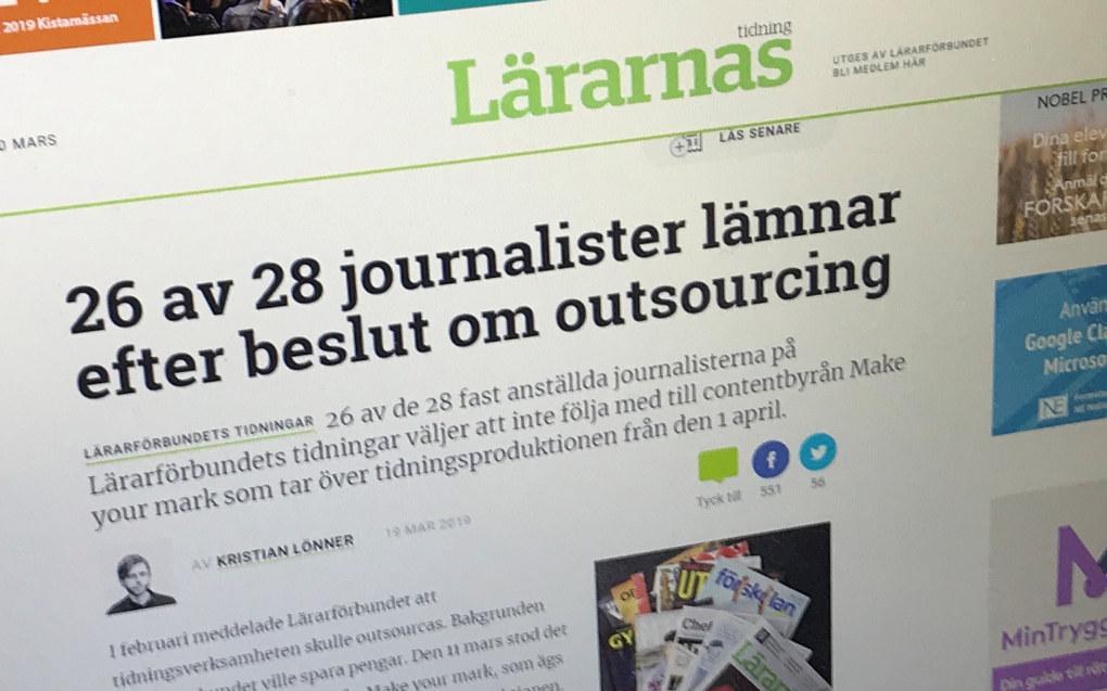 Skjermdump fra lararnastidning.se som er nettsiden til et av fagbladene til Lärarförbundet.