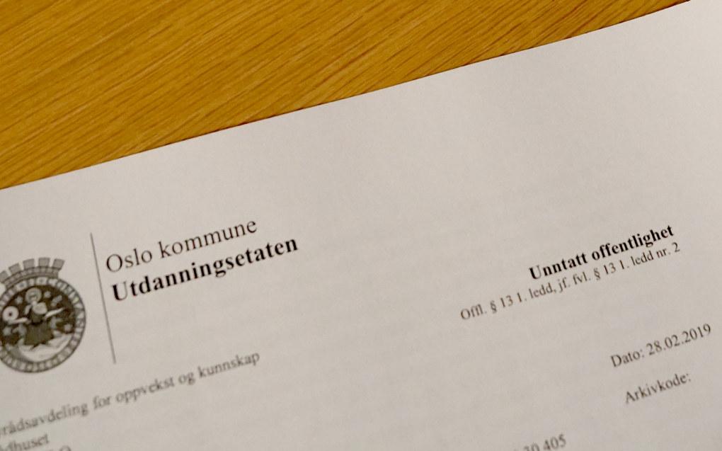 Planen for bedring av ytringskulturen i Osloskolen ble først unntatt offentlighet. Foto: Marianne Ruud
