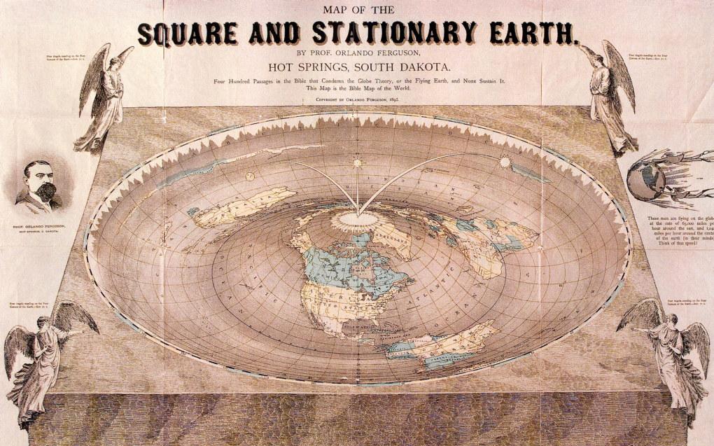 Teorier om at jorda er flat, har fremdeles fotfeste i enkelte miljøer. Illustrasjonen viser professor Orlando Fergusons