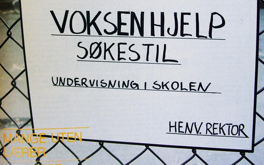 Mangelen på kvalifiserte lærere var stor på 1960- og begynnelsen av 1970-tallet. Faksimile fra Norsk skoleblad nr. 22/1987