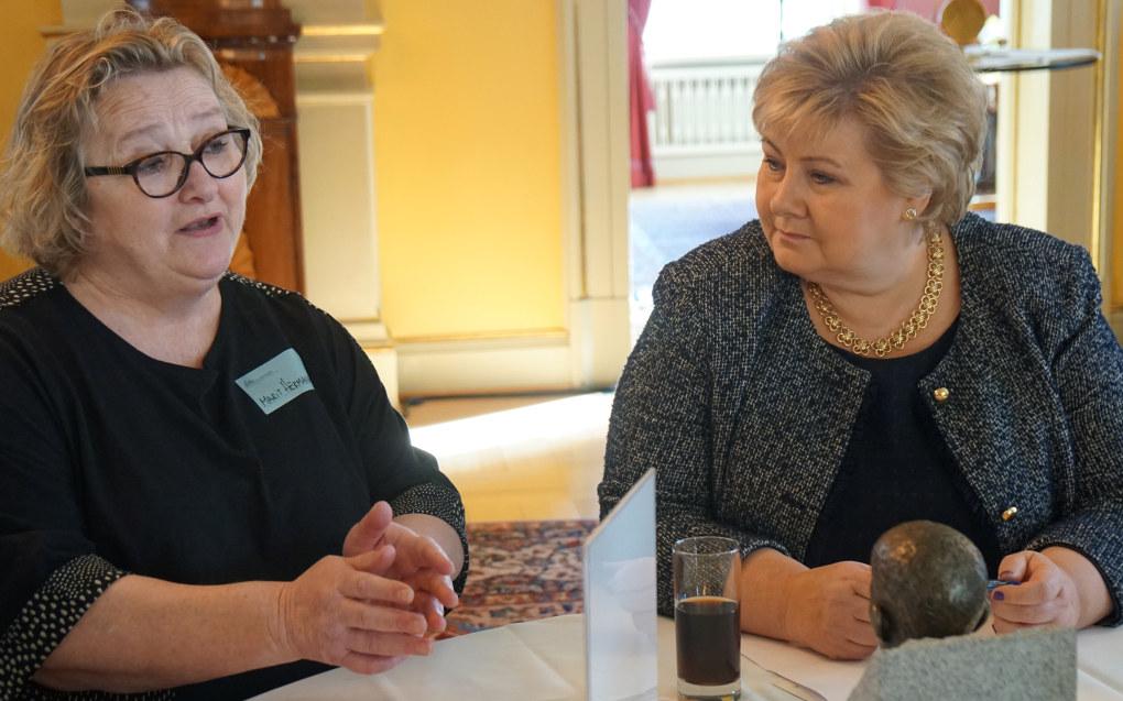 I mars 2018 bidro Marit Hermansen da statsministeren samlet ideer til hvordan skolene kan bli bedre til å motarbeide rasisme og diskriminering. Arkivfoto: Marianne Ruud