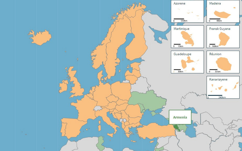 eTwinning ble lansert i 2005 som hovedtiltaket til Europakommisjonens eLæringsprogram, og har vært tett integrert i Erasmus+, det europeiske programmet for utdanning, opplæring, ungdom og idrett, siden 2014. Kartet viser land som deltar (gult og grønt). Skjermdump fra etwinning.net, prosjektets hjemmeside.