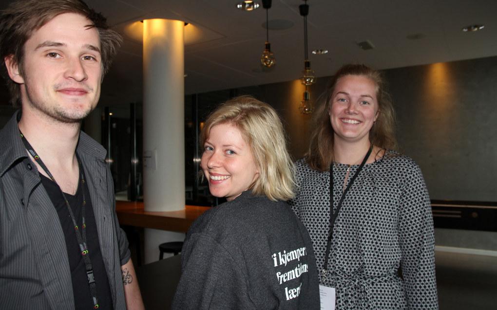 Jonas Bråthen (23), Alva Eide (26) og Tonje Frafjord (23) på fylkesårsmøte i Utdanningsforbundet Rogaland. Foto: Sonja Holterman