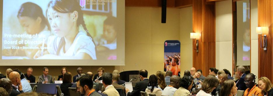 Bildet viser deltagere på styremøte i GPE - Global Partnership for Education Foto: GPE, Chantal Rigaud