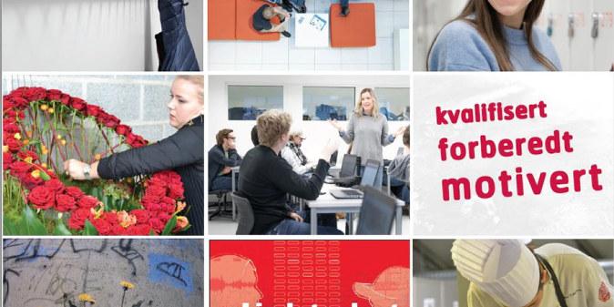 Bildecollage fra forsiden på debatthefte om videregåedne opplæring, Liedutvalget