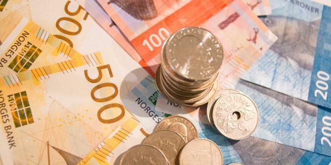 Norske kroner i ulike valører.