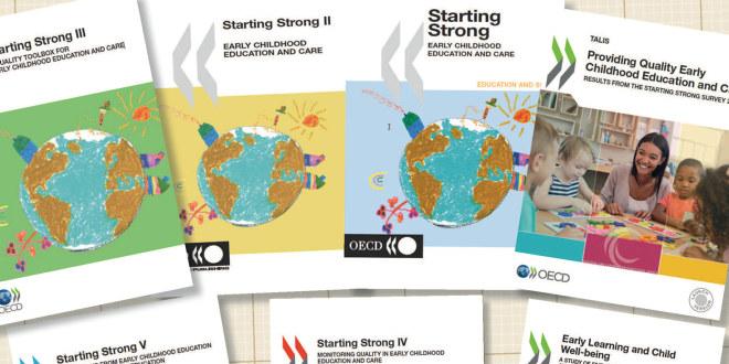 """Omslag på en rekke publikasjoner fra OECD i serien """"Starting strong"""""""