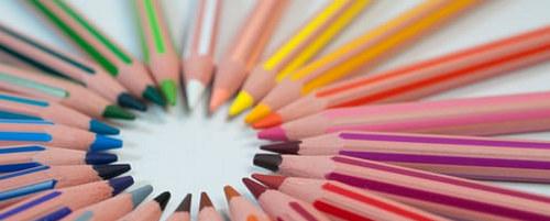 Bilde av fargeblyanter i sirkel