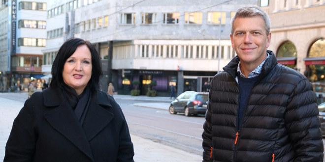 Forhandlingsleder Aina Skjefstad Andersen i Unio Oslo kommune sammen med nestleder i utvalget, Bård Eirik Ruud, under mekling med Oslo kommune oktober 2020.