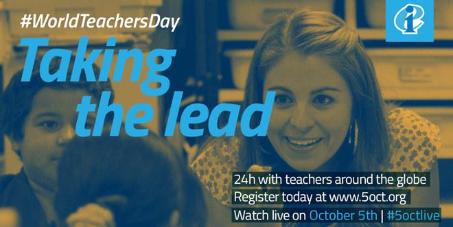 Taking the lead, kampanje fra EI under verdens lærerdag.