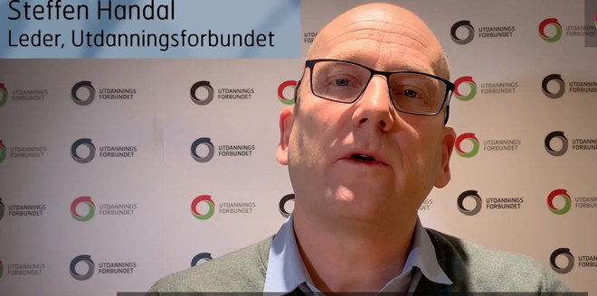 Steffen Handal, leder i Utdanningsforbundet. Skjermdump fra film om avslutning av tariffoppgjøret i KS og Oslo kommune 10. desember 2020.
