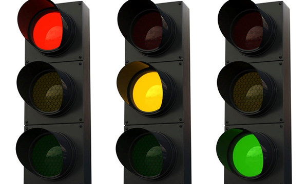 Trafikklys som viser rødt