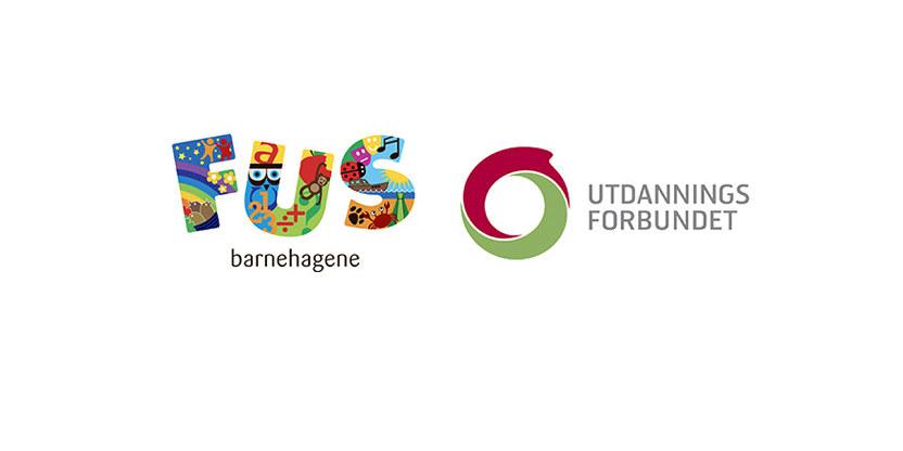 Logo for barnehagekjeden FUS og for Utdanningsforbundet.
