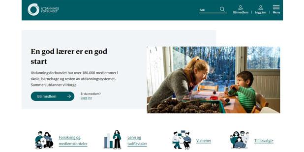 Forsiden til Utdanningsforbundet.no - med ramme, udf.no, nettsidene